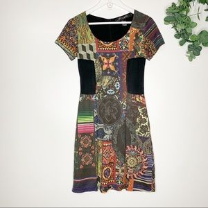 Desigual Boho Patchwork Faux Suede Dress